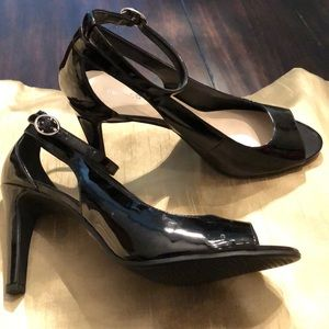Franco Sarto Black Patent Heels with ankle strap.